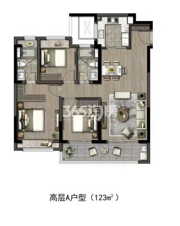 华润置地江湾城高层建面约123平户型图