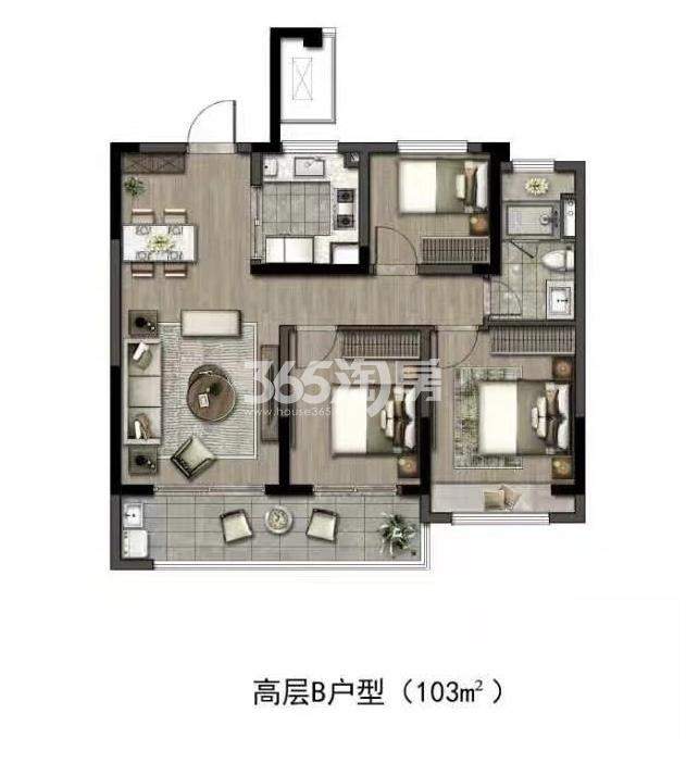 华润置地江湾城高层建面约103平户型图