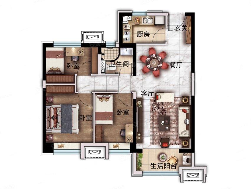 碧桂园金誉府92平米三居户型