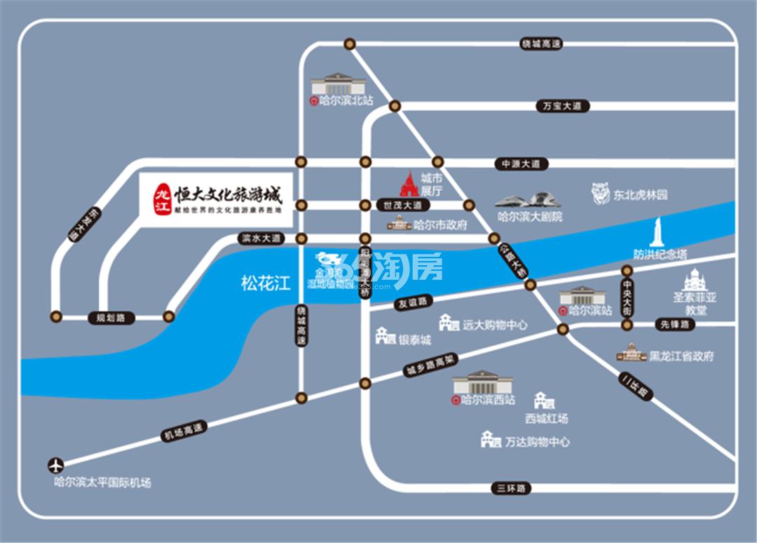 龙江恒大文化旅游城交通图