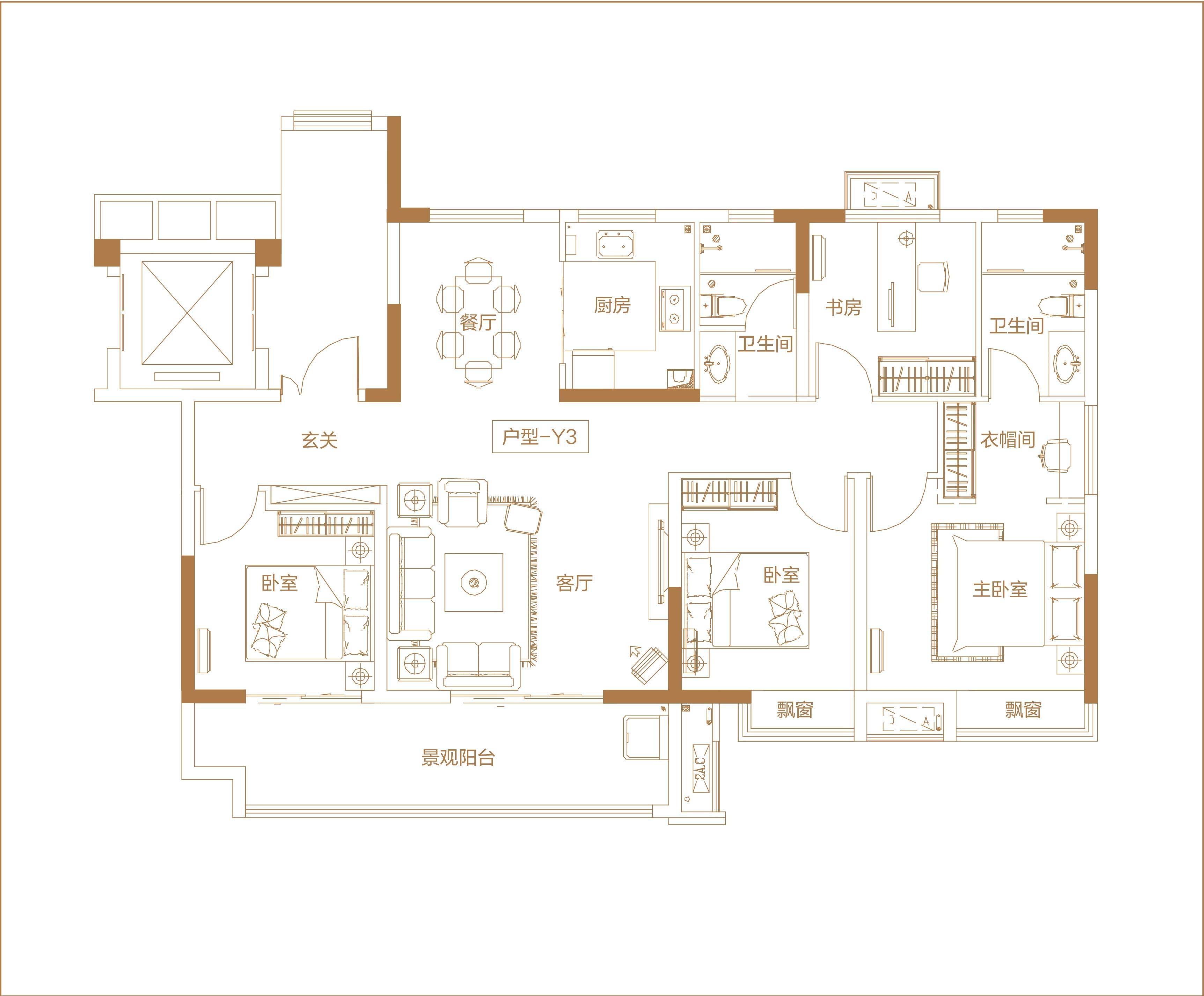 北京城房·春华园 洋房Y3户型建面约132㎡ 202010