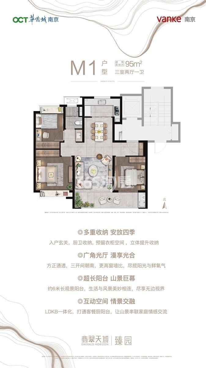 华侨城翡翠天域M1户型95㎡户型图