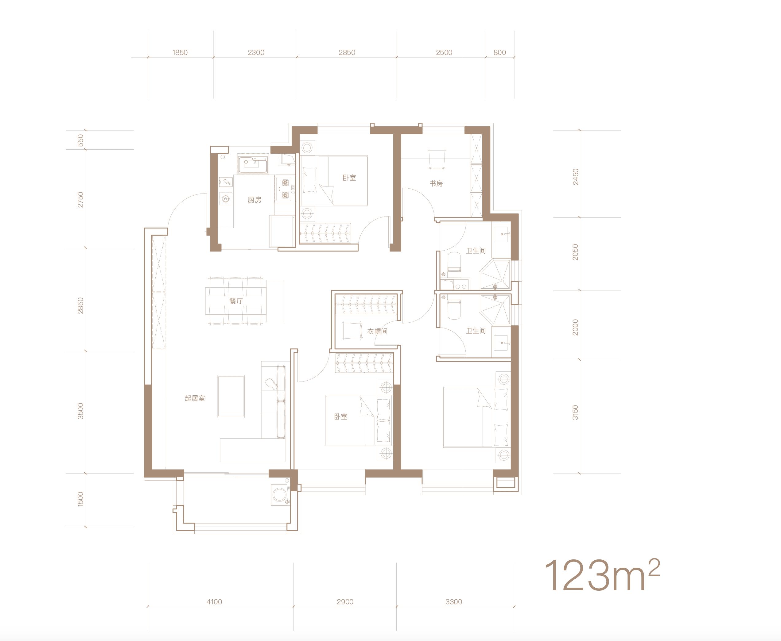 123平米 四室两厅两卫