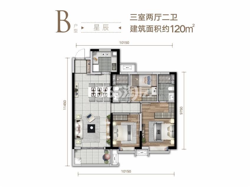 华润置地二十四城项目户型图(建面约120㎡)