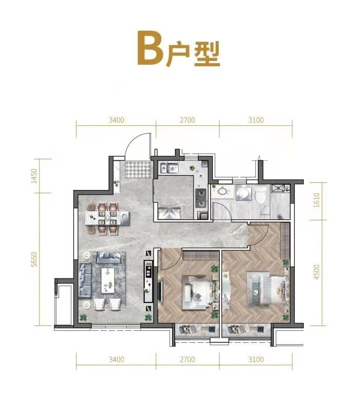高层80平米两室两厅一卫