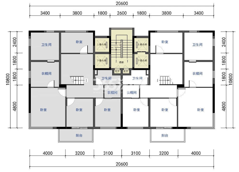 仁恒江湾世纪叠墅户型图220-250㎡(上叠三层)