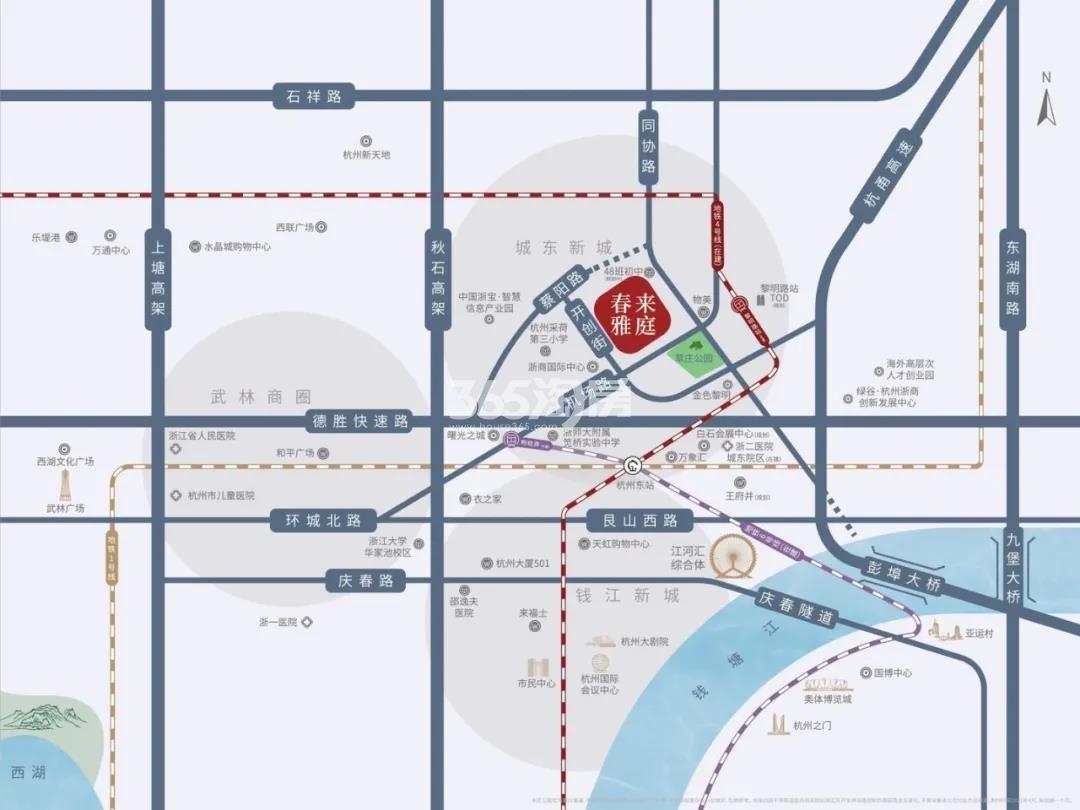 滨江绿城春来雅庭交通图