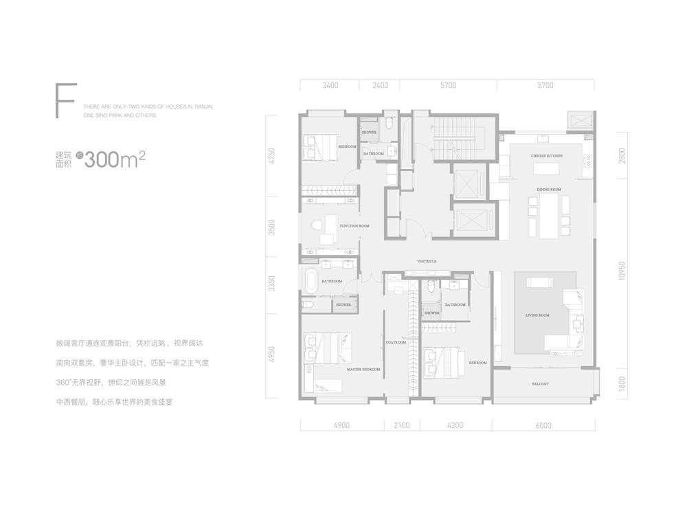 F户型300平米四室两厅三卫