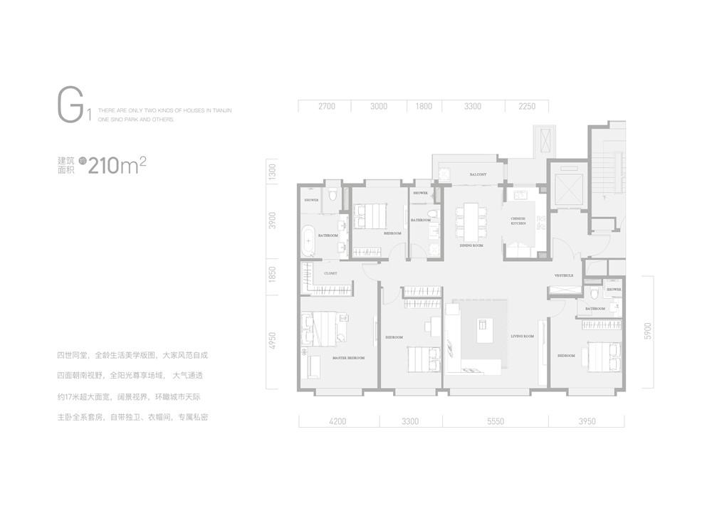 G1户型210平米四室两厅三卫