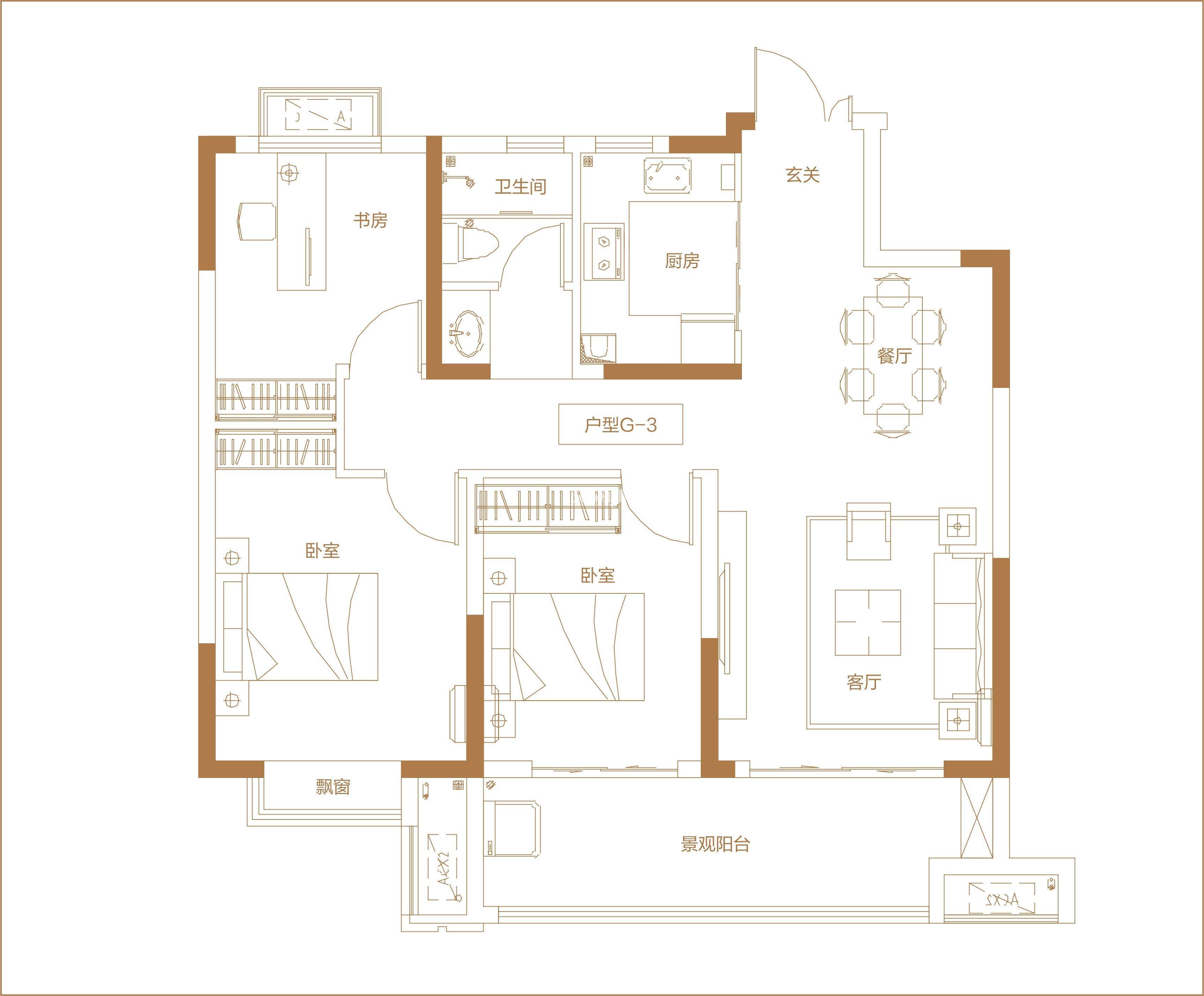 北京城房·春华园 高层G3户型建面约106㎡ 202010