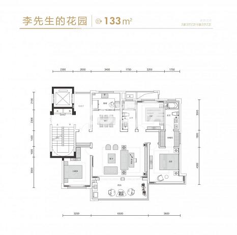 振兴·溪境李先生的花园133㎡户型图