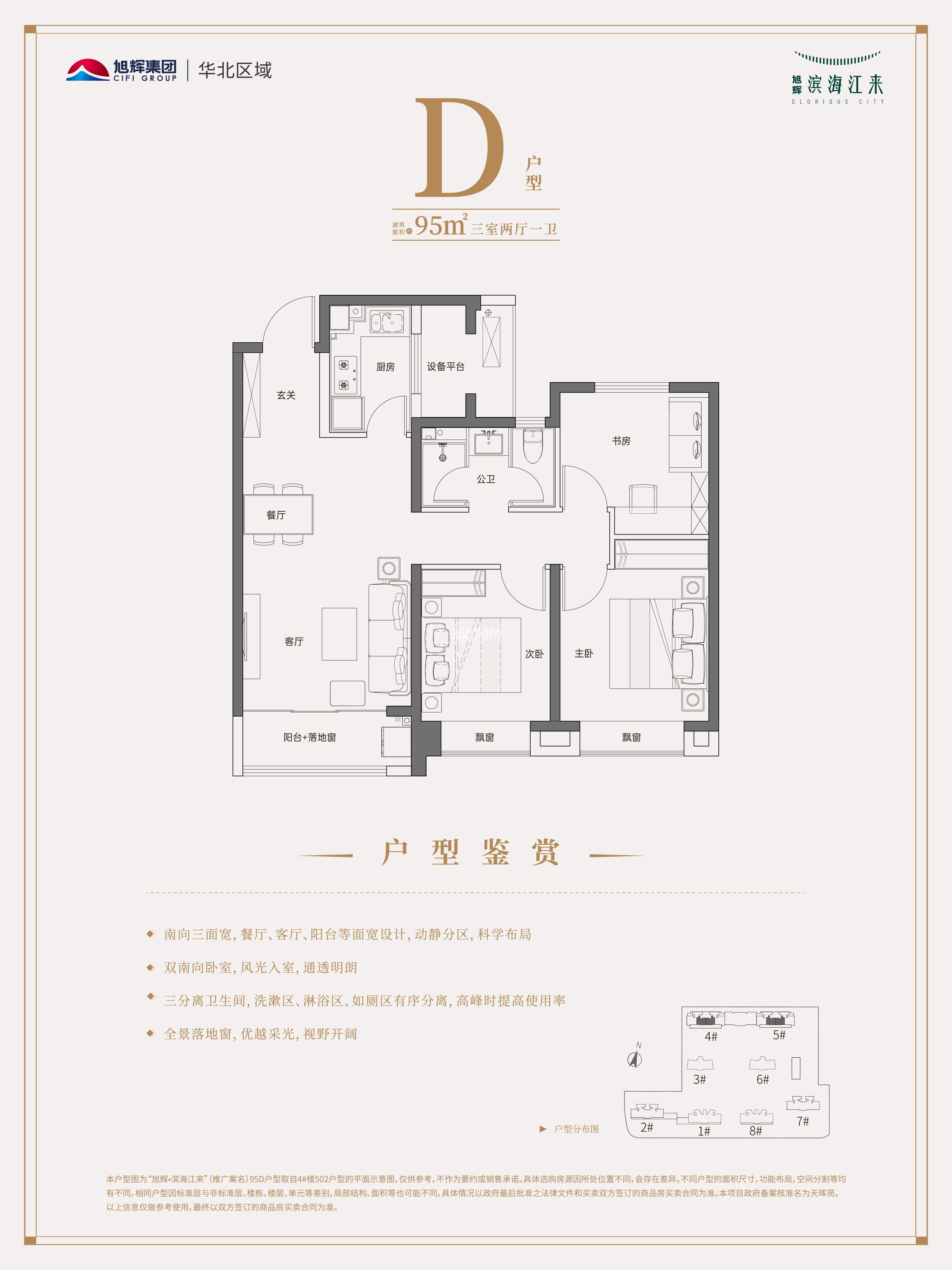 D户型 三室两厅一卫 95平米