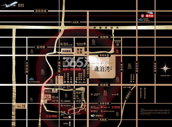 泰州珑泊湾名邸交通图