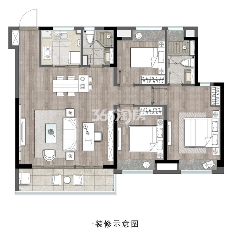 铂宸府约123平高层户型