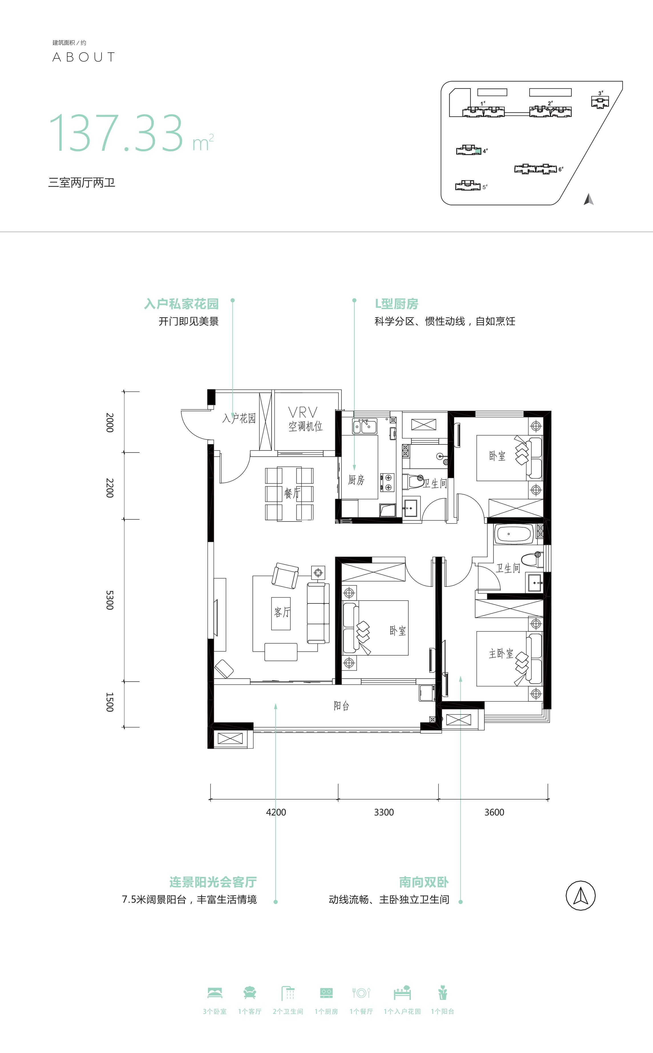启迪大院儿137.33㎡三室两厅两卫户型图