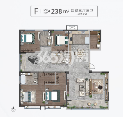 清凉山樾F户型238平米三室三厅三卫