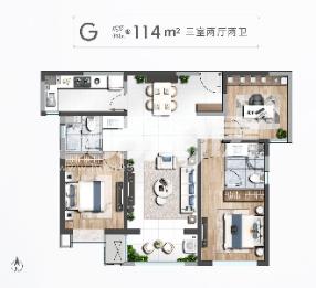 清凉山樾C户型114米三室两厅两卫