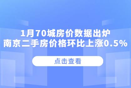1月70城房价出炉!南京二手房价格环比上涨0.5%