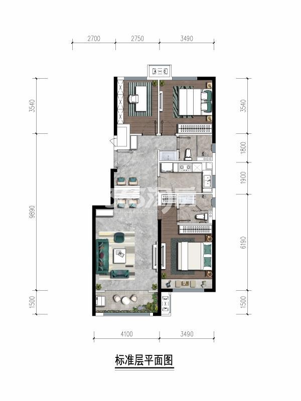 保利熙岸林语110㎡三室两厅两卫户型图