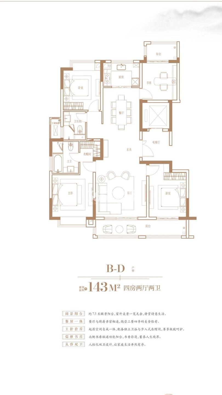 中冶锦绣珑湾B-D户型143㎡户型图