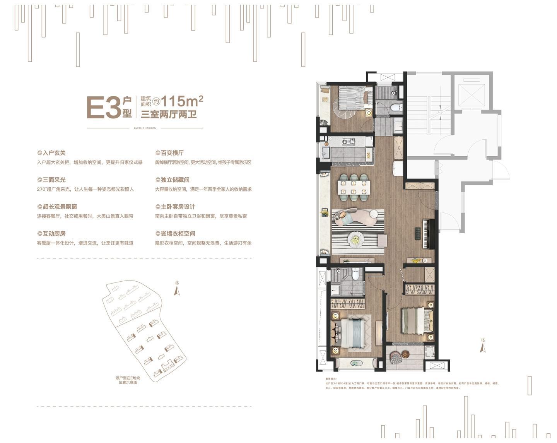 华侨城翡翠天域E3户型115㎡户型图