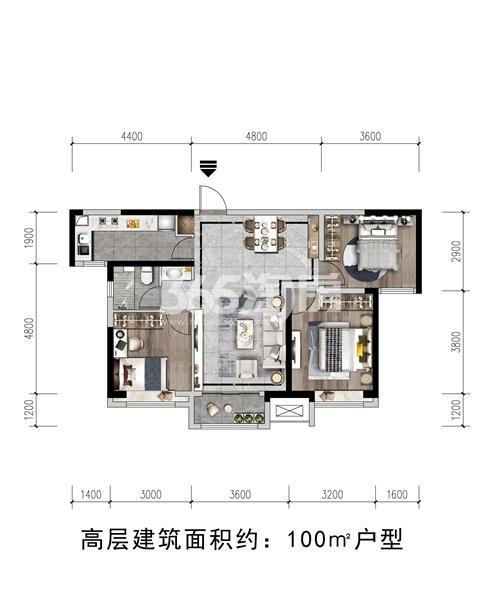 瑞辰·金悦府项目高层户型图(建面约100㎡)