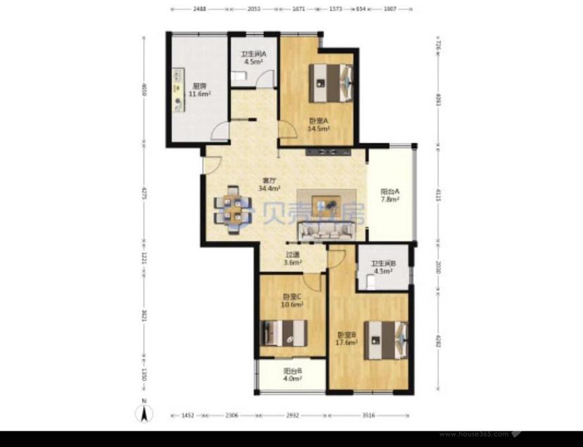 泰来苑3室2厅2卫135.00㎡260.00万元
