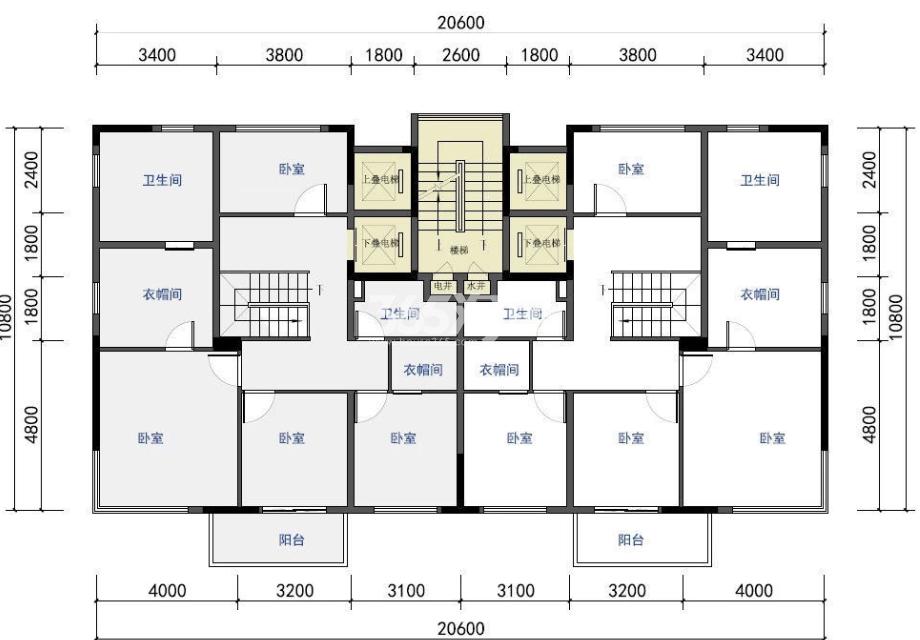 仁恒江湾世纪叠墅户型图220-250㎡(下叠二层)
