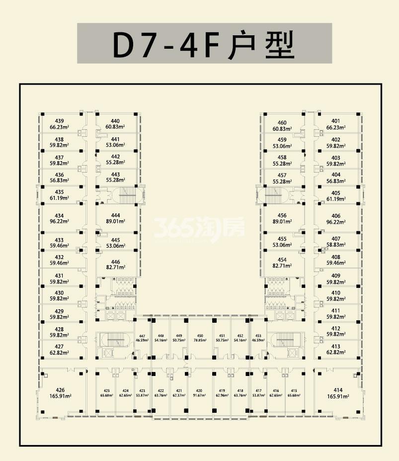 1668华商里D7#-4F楼层图
