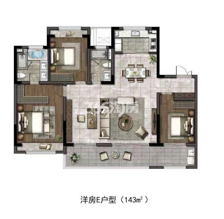 华润置地江湾城低密多层建面约143平户型图