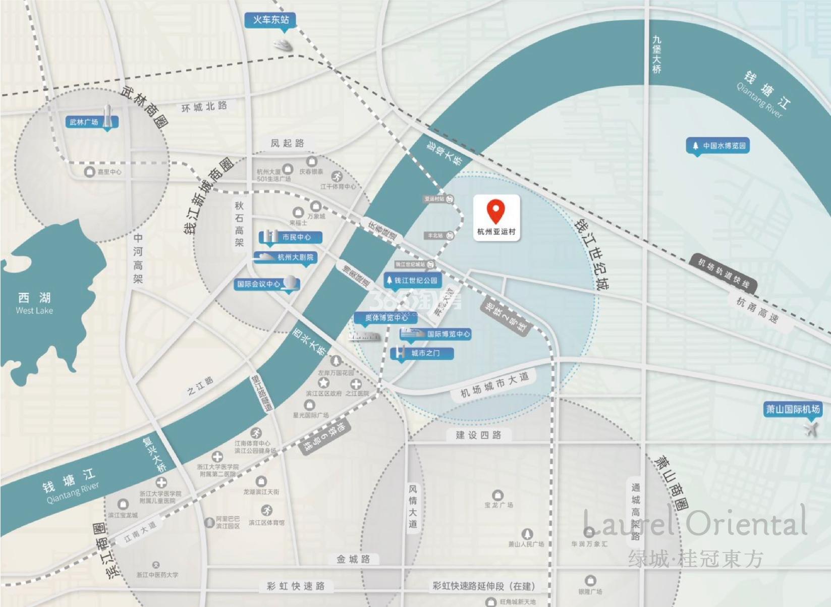 绿城桂冠东方交通图