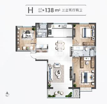 清凉山樾H户型138米三室两厅两卫