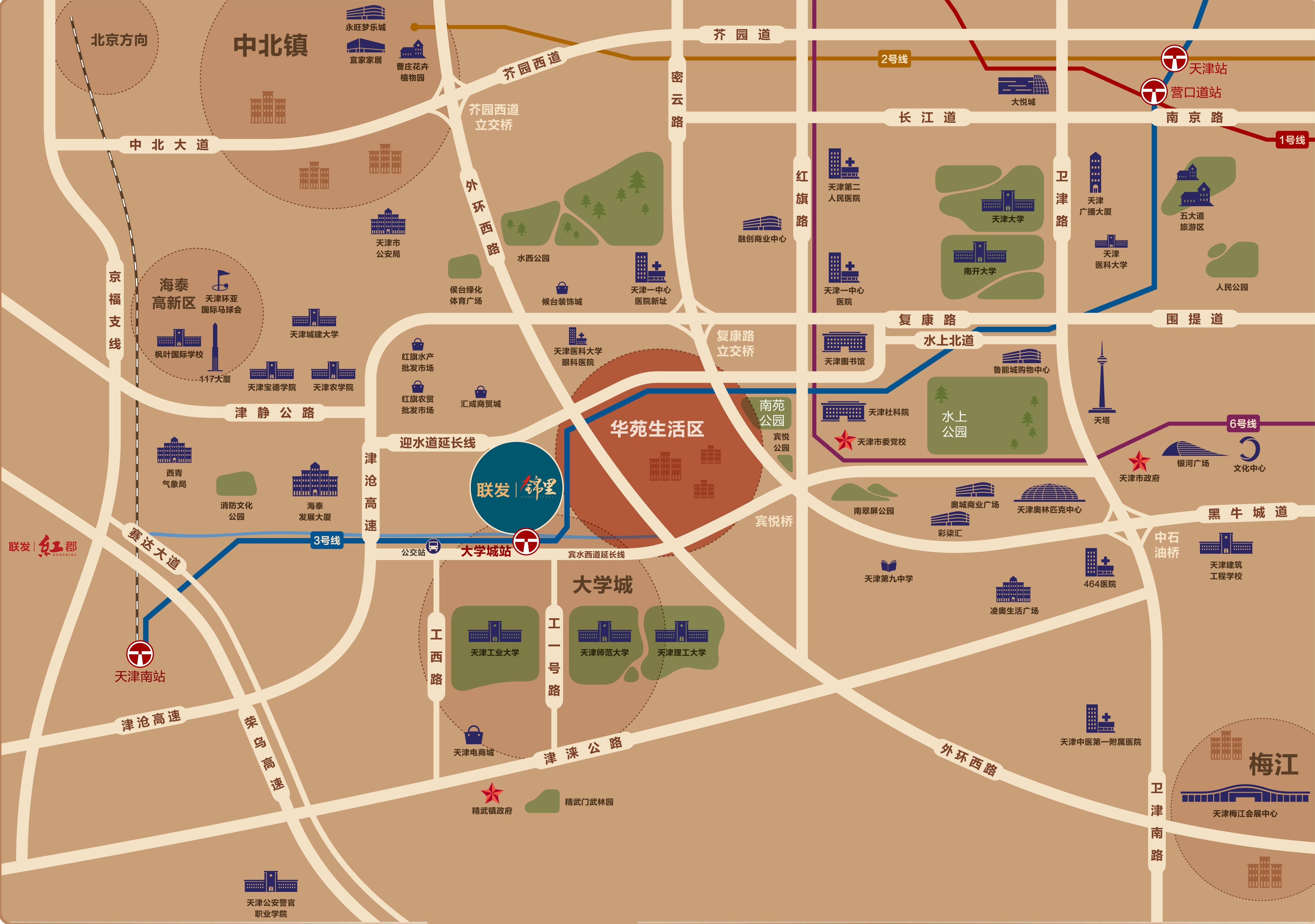 联发锦里交通图