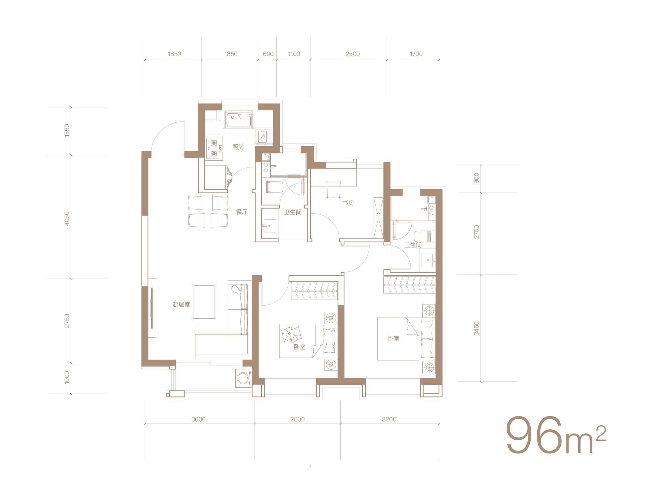 96平米三室两厅两卫