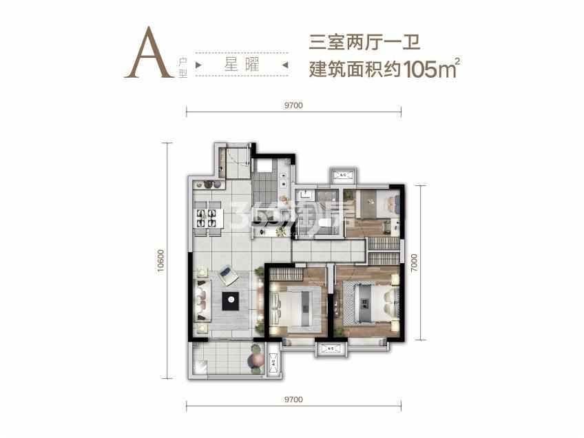 华润置地二十四城项目户型图(建面约105㎡)