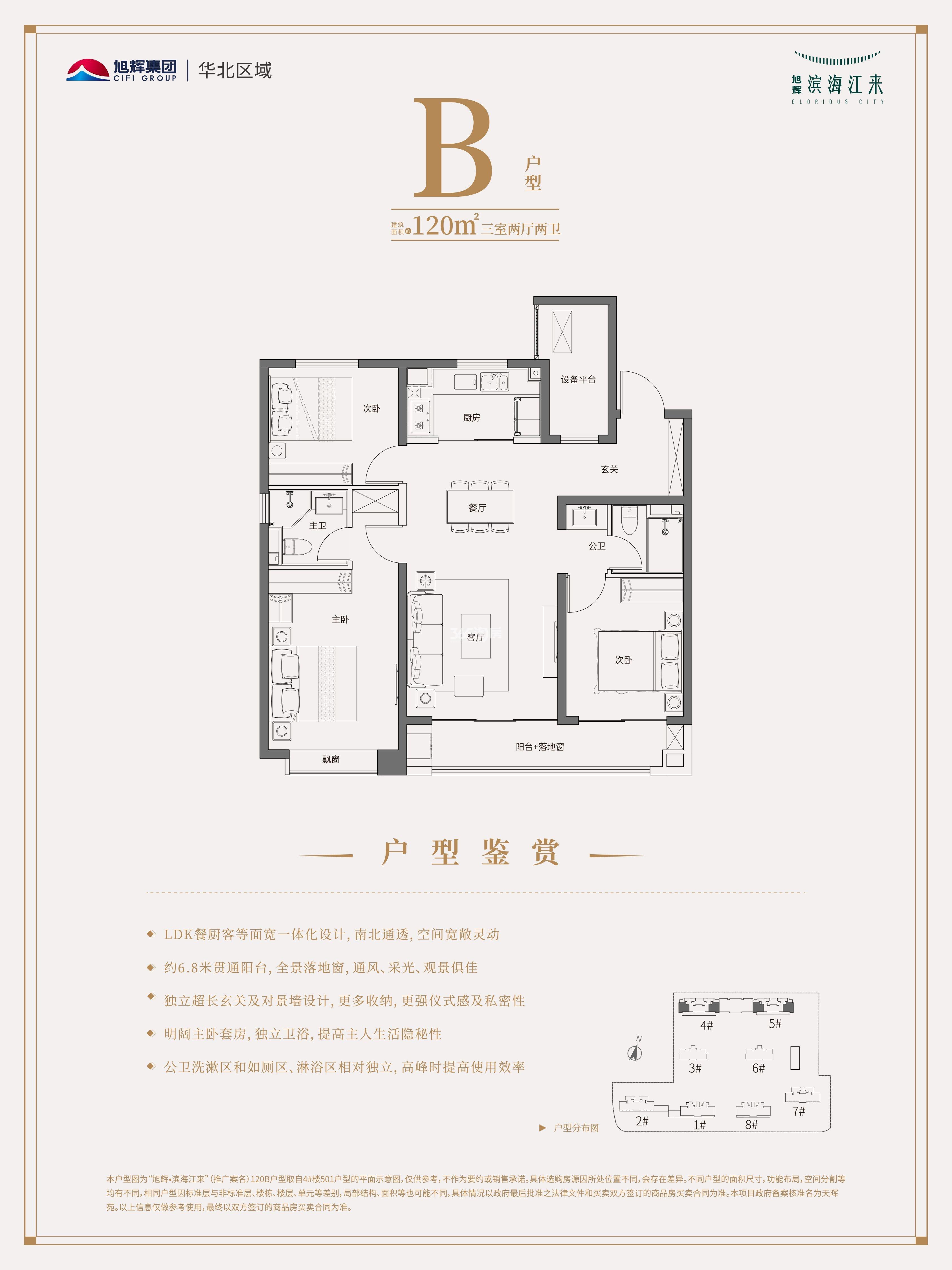 B户型 三室两厅两卫 120平米