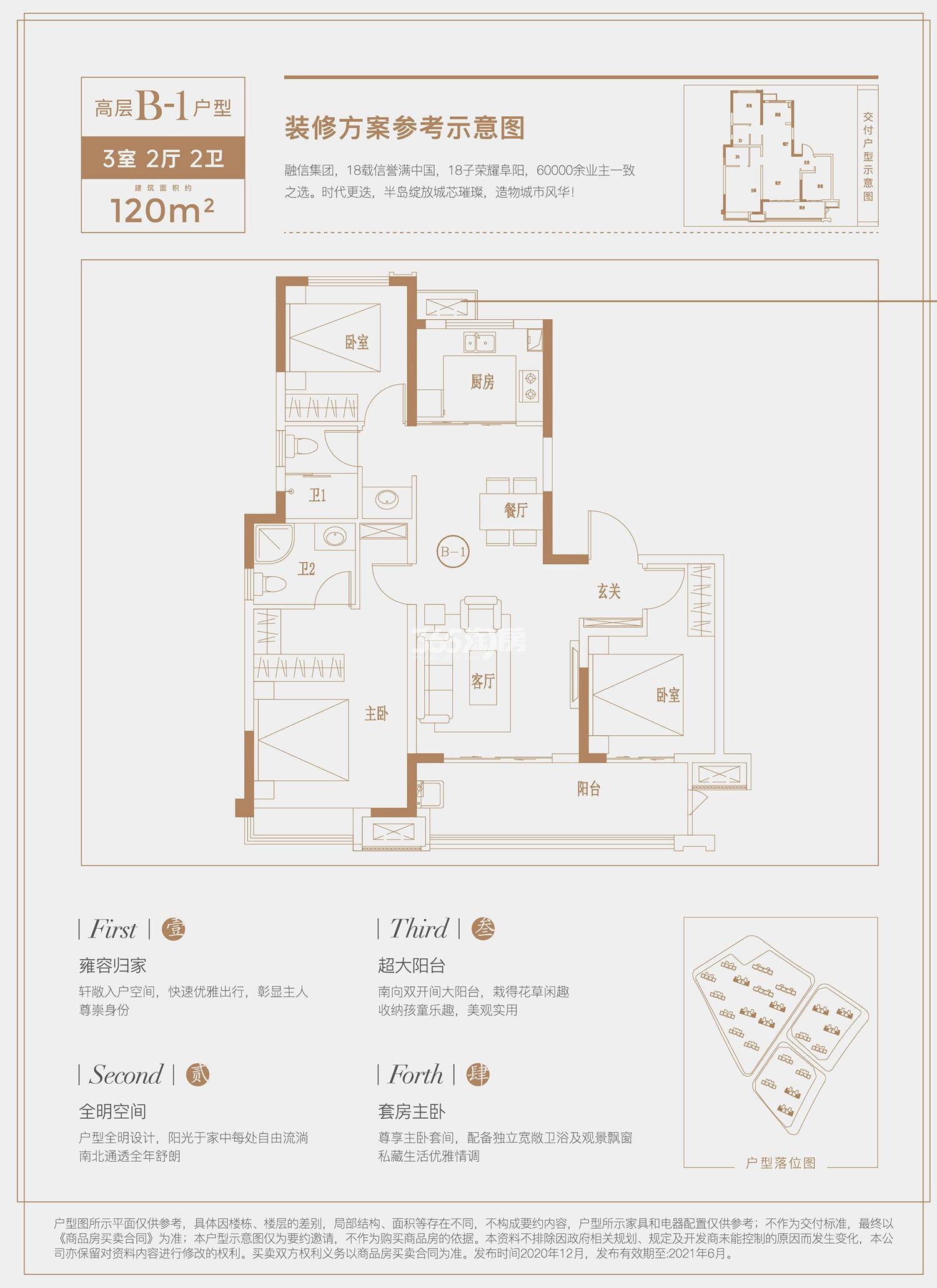 高层B1户型,3室2厅2卫120㎡