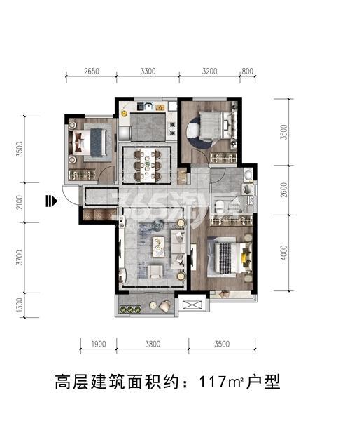瑞辰·金悦府项目高层户型图(建面约117㎡)