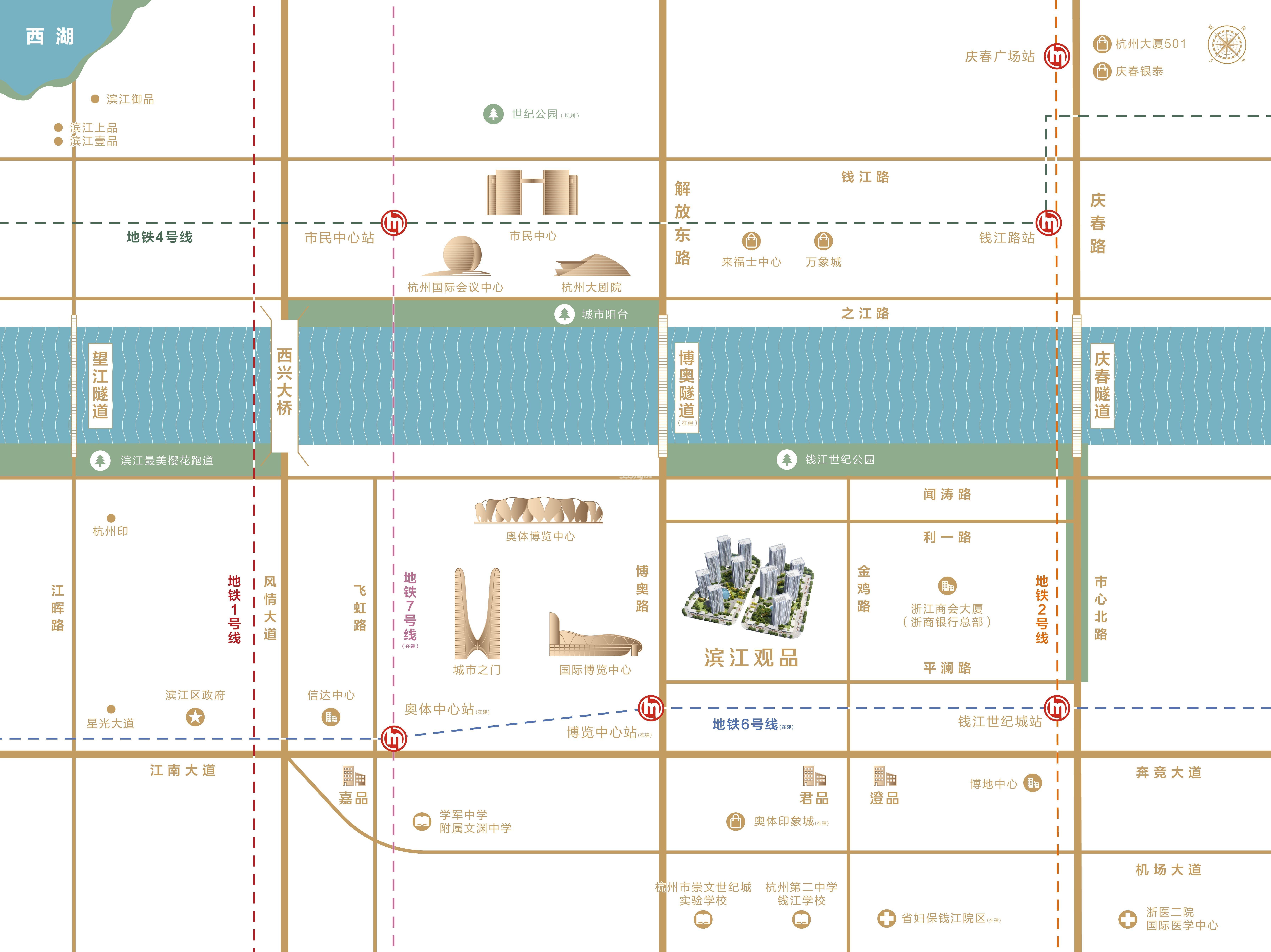 滨江观品交通图