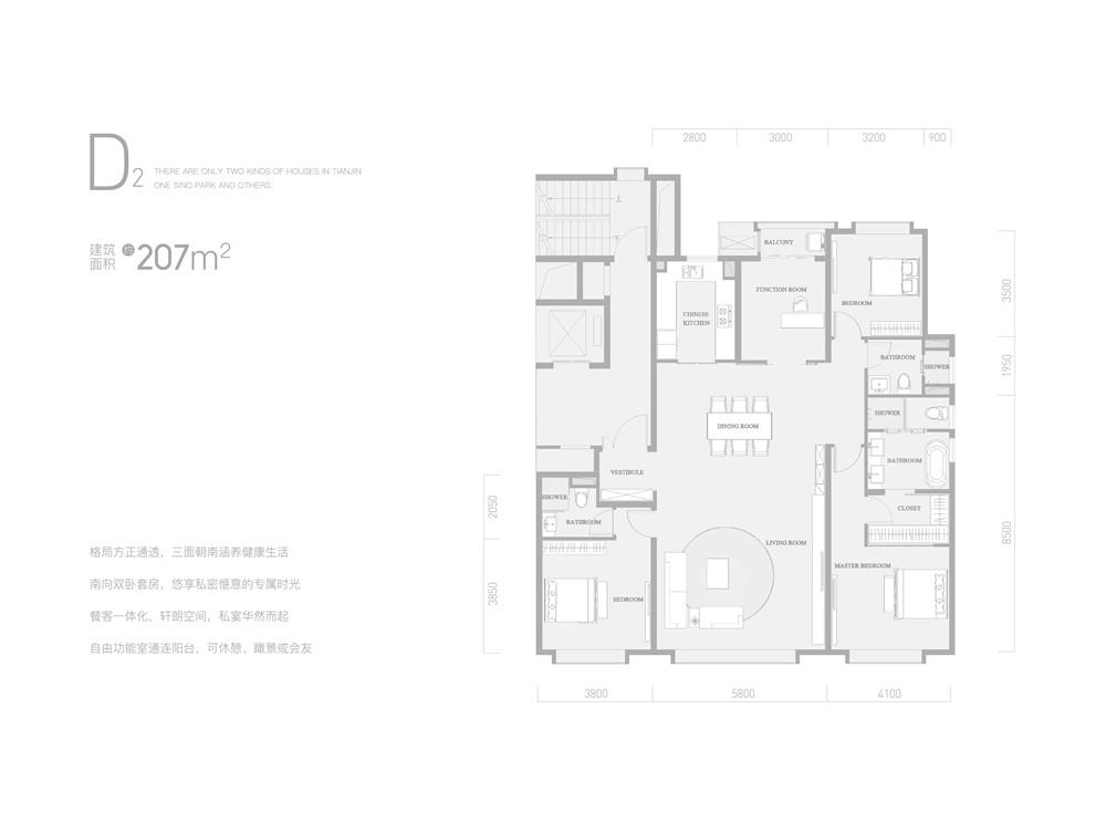D2户型207平米四室两厅三卫