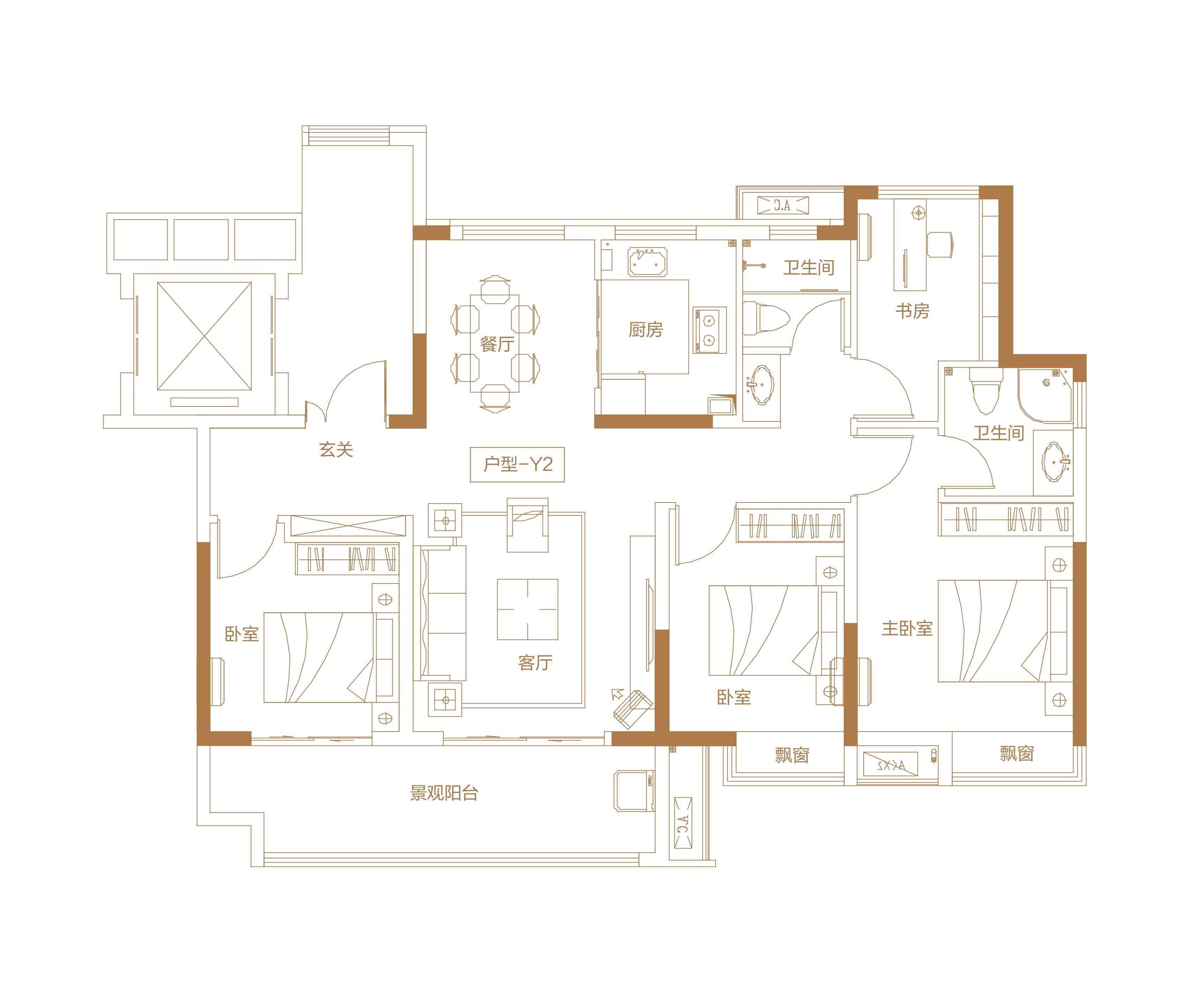 北京城房·春华园 洋房Y2户型建面约123㎡ 202010