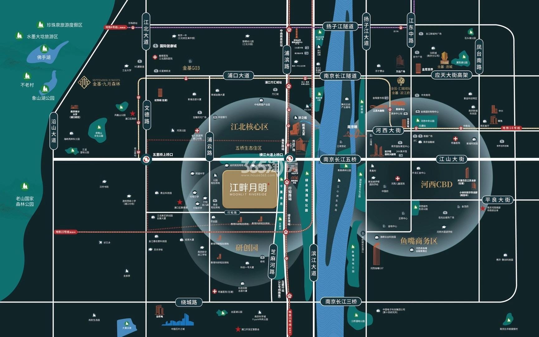 江畔月明府交通图