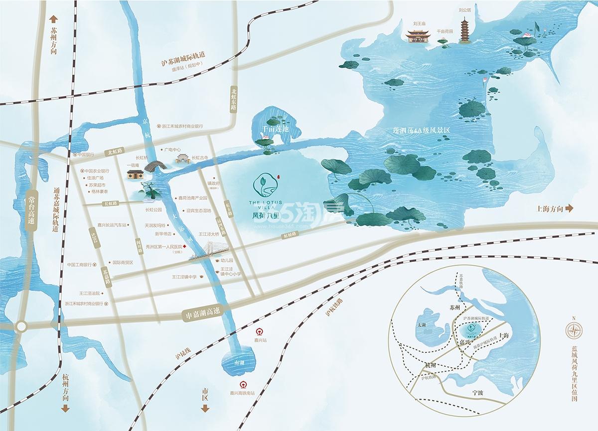 蓝城风荷九里交通图