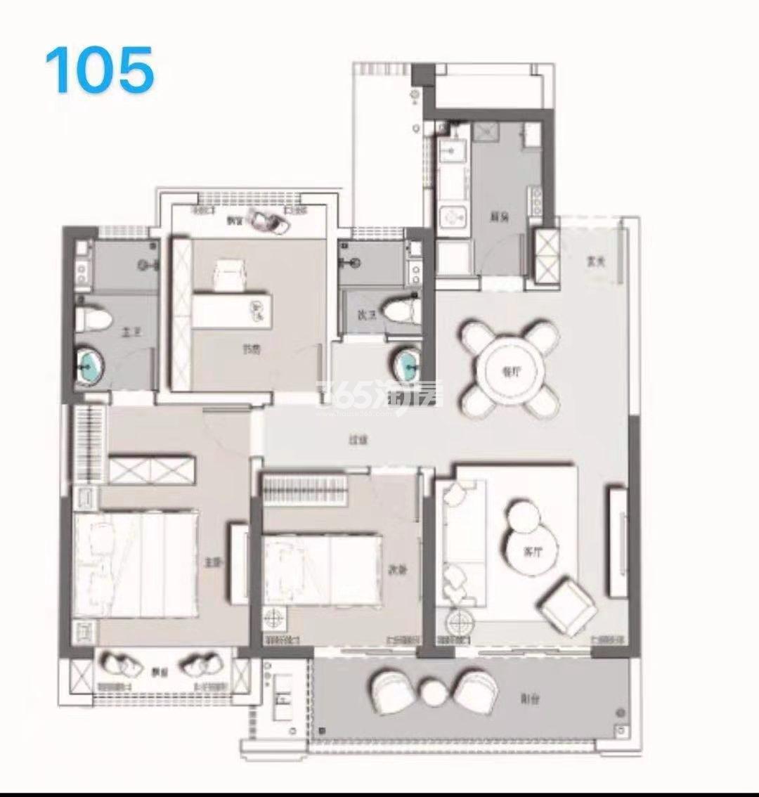 百郦华庭105平户型图