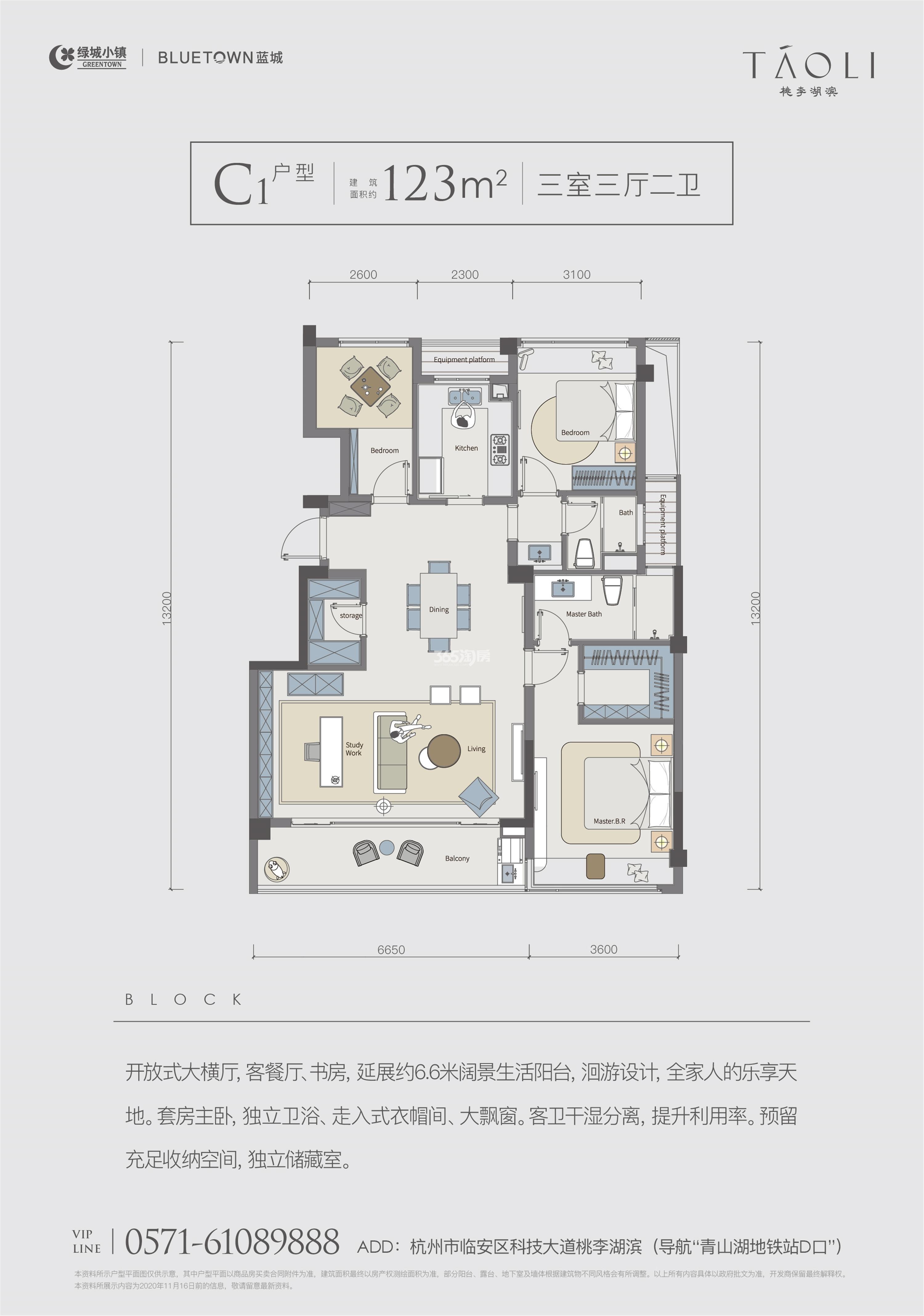 桃李湖滨C1户型123方户型图